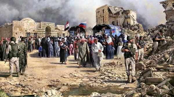 Картина испанского художника Аугусто Феррер-Далмау Алеппо. Помощь пришла