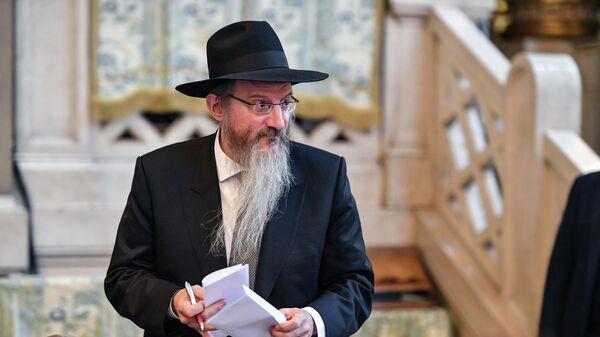 Главный раввин России Берл Лазар на встрече студентов Eurostars 2019 в Большой синагоге Рима