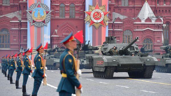 Танк Т-14 Армата на военном параде, посвящённом 74-й годовщине Победы в Великой Отечественной войне