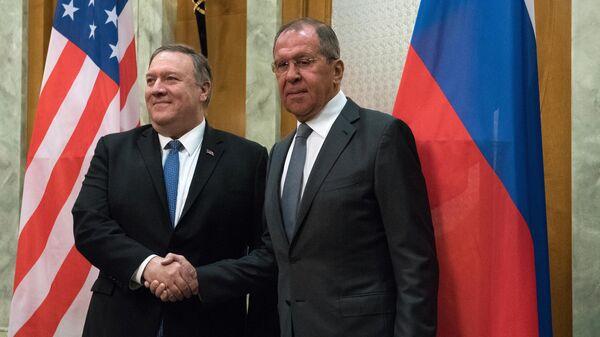 Министр иностранных дел России Сергей Лавров и госсекретарь США Майк Помпео во время встречи в Сочи. 14 мая 2019