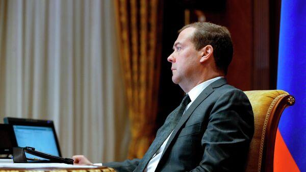 Председатель правительства РФ Дмитрий Медведев проводит совещание в режиме видеоконференции по вопросу исполнения поручений президента РФ и правительства РФ. 14 мая 2019
