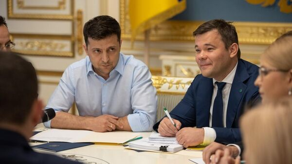 Президент Украины Владимир Зеленский во время встречи с руководством Верховной рады и лидерами парламентских фракций и групп. 21 мая 2019
