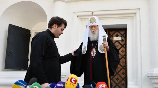 Филарет Денисенко после заседания Синода Украинской православной церкви. 24 мая 2019