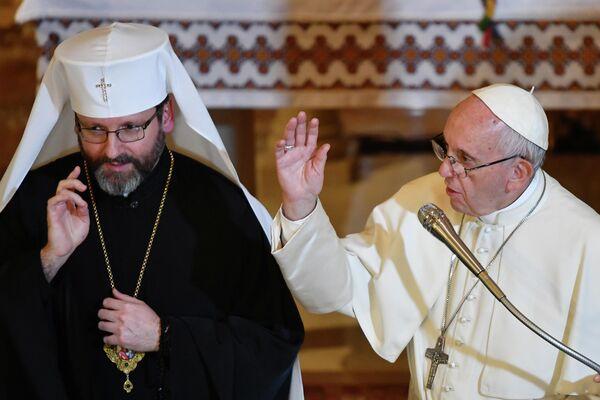 Встреча папы Франциска с верховным архиепископом УГКЦ Святославом Шевчуком