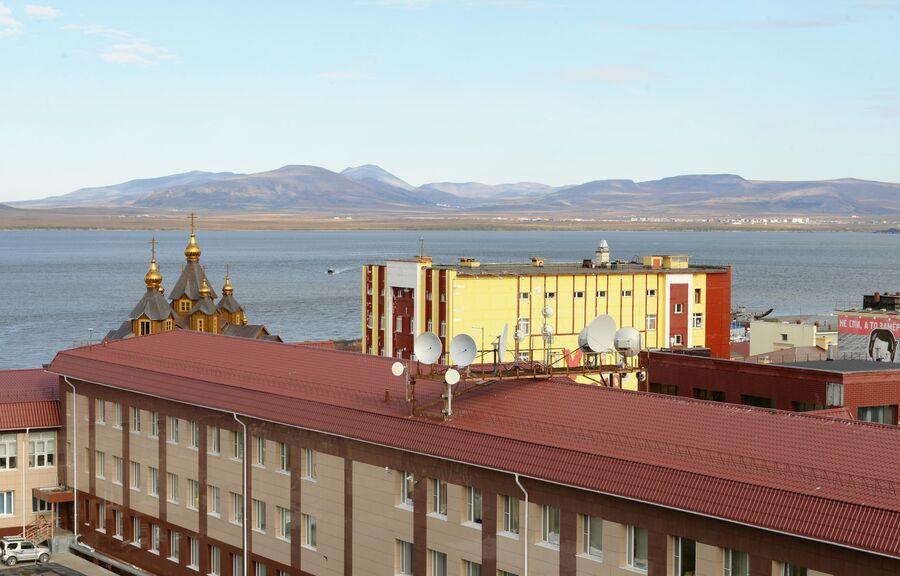 Вид на залив в городе Анадырь