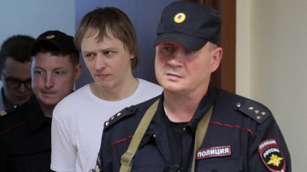 Обвиняемый по делу Нового величия Дмитрий Полетаев в Люблинском суде Москвы. 27 мая 2019