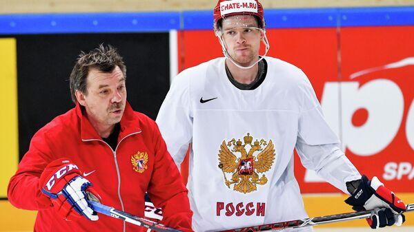 Олег Знарок и Евгений Кузнецов. Тренировка сборной России