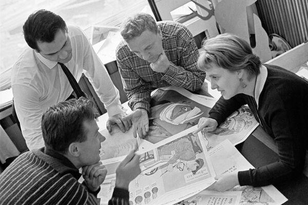 Обсуждение эскиза плакатов на сельскохозяйственную тему в редакции журнала Крокодил, 24 октября 1964 года