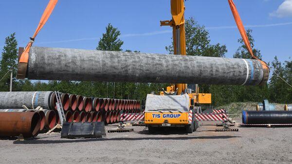 Участок строительства газопровода Северный поток — 2 в Ленинградской области