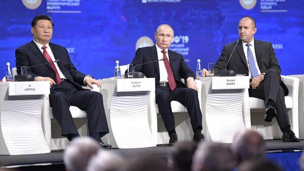 Президент РФ Владимир Путин на пленарном заседании Петербургского международного экономического форума 2019