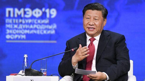 Председатель КНР Си Цзиньпин на пленарном заседании Петербургского международного экономического форума 2019