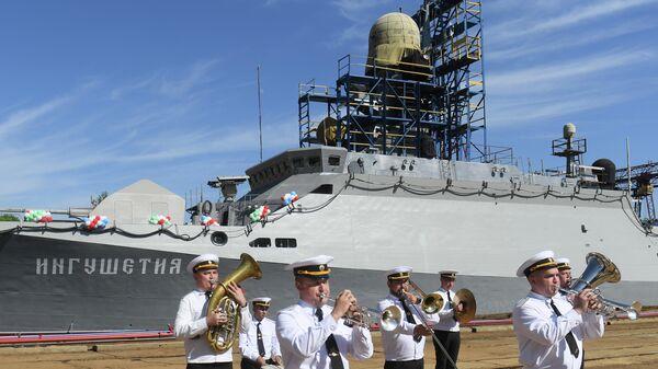 Спуск на воду малого ракетного корабля  Ингушетия в Казани