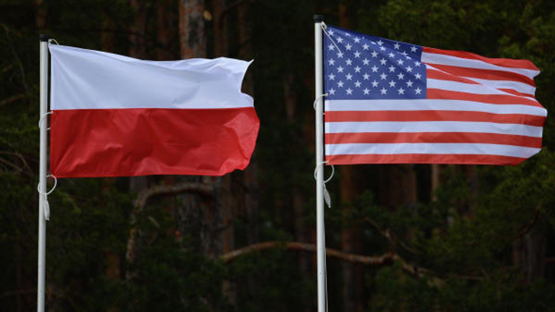 Флаги США и Польши. 14 апреля в польском Ожише прошла церемония приветствия многонационального батальона НАТО под руководством США.  - РИА Новости, 1920, 20.11.2020