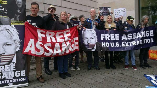 Протест против экстрадиции Джулиана Ассанжа около Вестминстерского магистратского суда в Лондоне