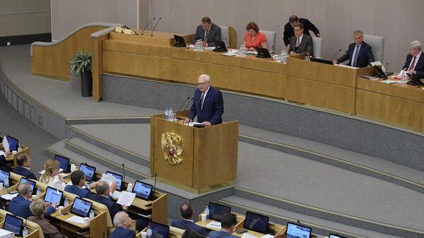 Заместитель министра иностранных дел России Сергей Рябков выступает на пленарном заседании Государственной Думы РФ. 18 июня 2019