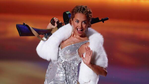 Певица Жанна Фриске - участница шоу Ледниковый период. Шоу проходит в Ледовом Дворце на Ходынском поле