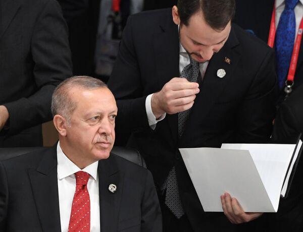 Presidente turco Recep Tayyip Erdogan na cimeira G20 em Osaka. 28 de junho de 2019