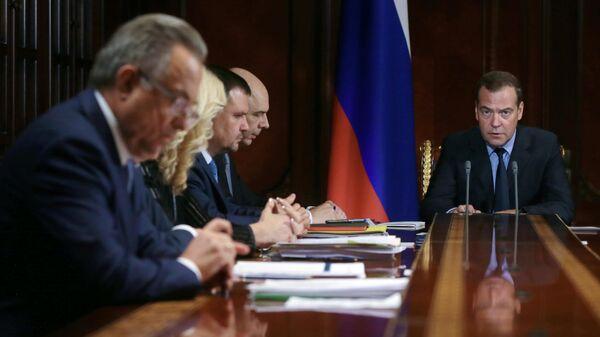 Председатель правительства РФ РФ Дмитрий Медведев проводит совещание с вице-премьерами. 1 июля 2019