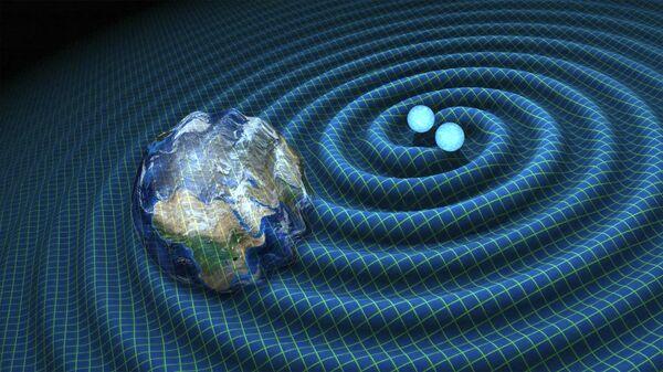 Гравитационные волны от слияния двух нейтронных звезд искажают пространство-время вокруг себя. LIGO способен зарегистрировать волны, порожденные в других галактиках