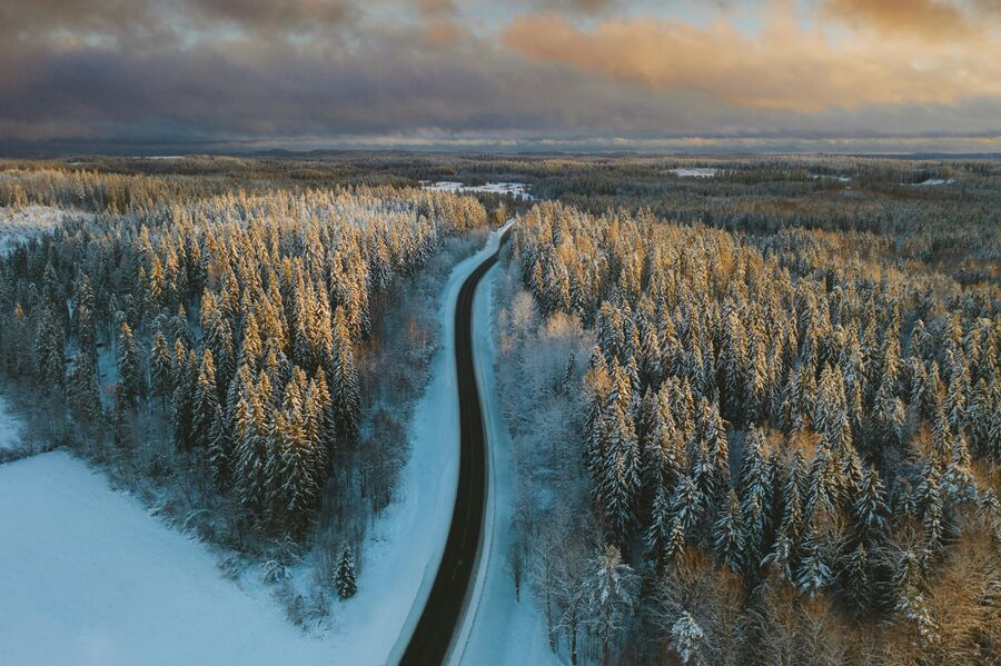 Зимняя дорога в Сортавале. Карелия