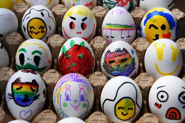 Раскрашенные яйца на IV всероссийский фестиале Скорлупино