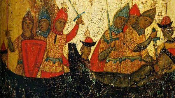 Убийство Глеба в ладье. Клеймо иконы Борис и Глеб с житием, XIV век