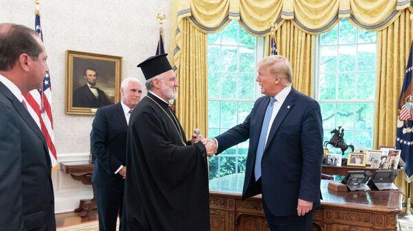 Встреча митрополита Элпидофора с президентом США Дональдом Трампом в Белом доме. 16 июля 2019