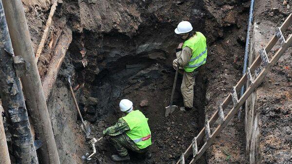 Археологические раскопки вблизи улицы Сретенки в Москве