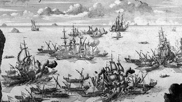 Морское сражение при Гренгаме 27 июля 1720 года. Гравюра А.Зубова, 1721 год