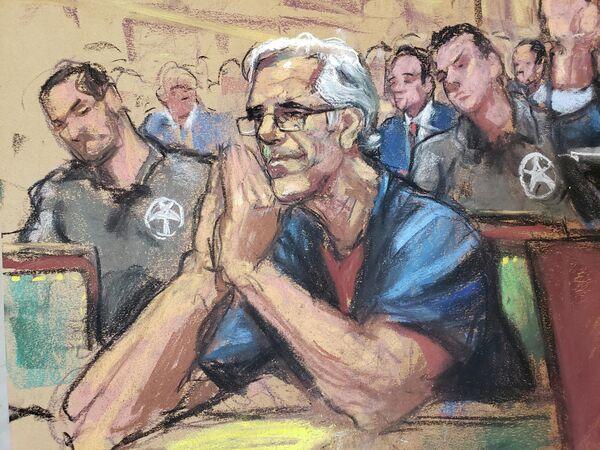 Джеффри Эпштейн на слушании дела о сексуальном насилии. Рисунок с судебного заседания