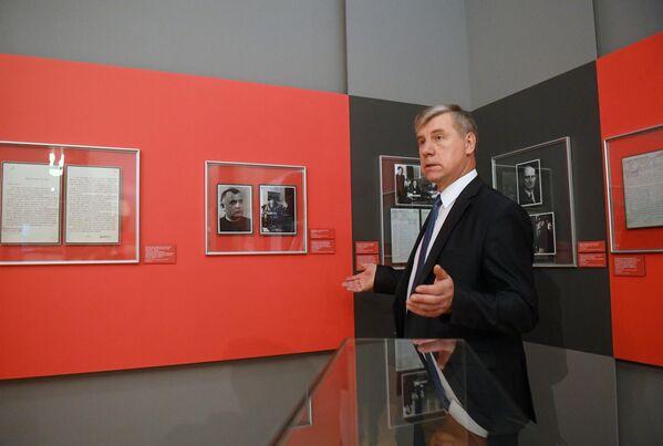Директор Российского государственного военного архива (РГВА) Владимир Тарасов на открытии историко-документальной выставки 1939 год. Начало Второй мировой войны