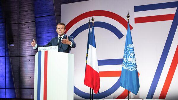 Президент Франции Эммануэль Макрон на саммите министров G7