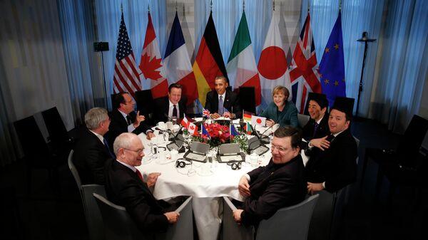 Заседание лидеров G7 в ходе саммита по ядерной безопасности в Гааге, Нидерланды. 2014 год