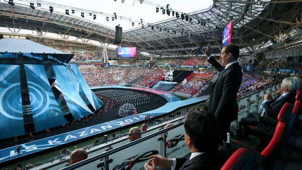 Председатель правительства РФ Дмитрий Медведев на церемонии открытия 45-го Мирового чемпионата по профессиональному мастерству по стандартам WorldSkills в Казани