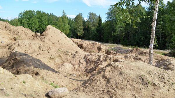 Место раскопок в районе деревни Жестяная Горка, где следователи обнаружили около 500 тел жертв латвийских карателей