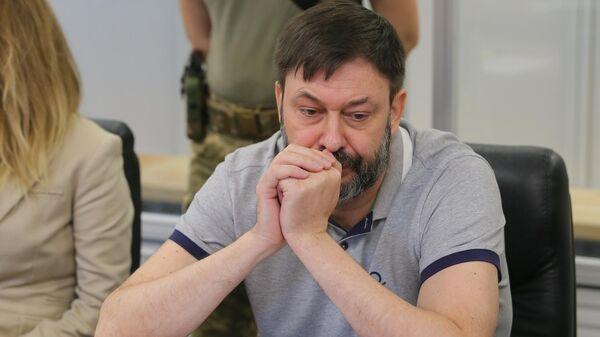 Руководитель портала РИА Новости Украина Кирилл Вышинский на заседании Подольского районного суда Киева. 28 августа 2019