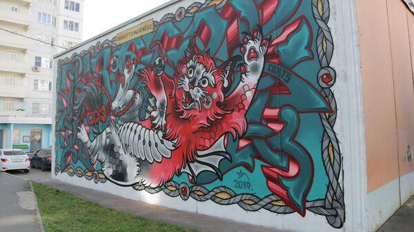Стрит-арт фестиваль URBAN MORPHOGENESI. Работа команды Antidote (Нью-Йорк, США)