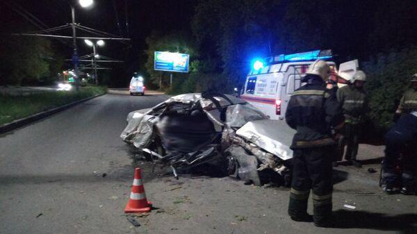 ДТП в Рязани вблизи дома 1 на улице Спортивная с участием автомобиля Деу Нексия. 30 августа 2019