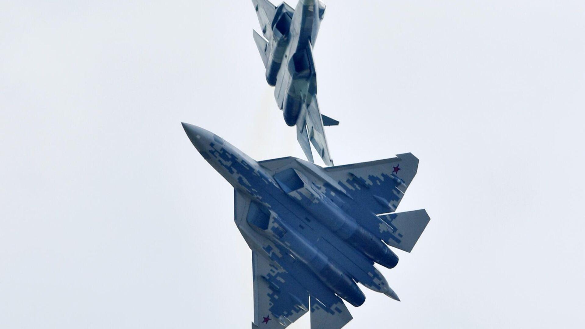 Российские многофункциональные истребители пятого поколения Су-57 - РИА Новости, 1920, 29.08.2020
