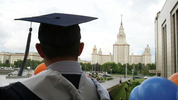 Перед началом торжественной церемонии вручения дипломов выпускникам Высшей школы бизнеса МГУ