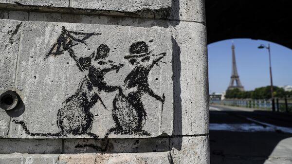 Граффити, приписываемое британскому стрит-арт художнику Бэнкси, в Париже
