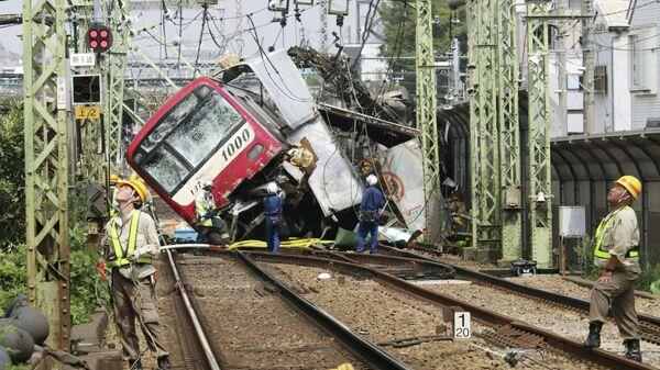 Место столкновения поезда и грузовика в Японии. 5 сентября 2019