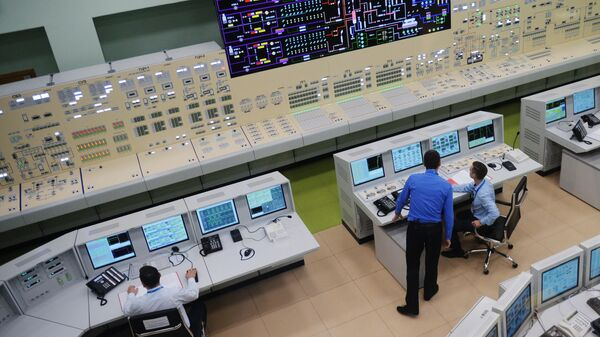 Полная копия щита управления энергоблока АЭС