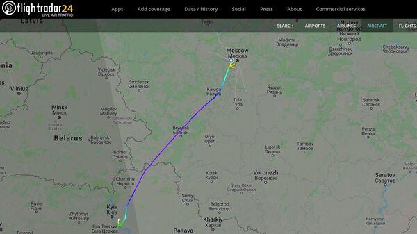 Информация о рейсе Москва - Киев на сайте Flightradar. 7 сентября 2019