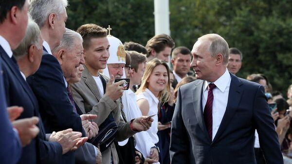 Президент РФ Владимир Путин во время торжественных мероприятий на ВДНХ, посвящённых празднованию Дня города Москвы