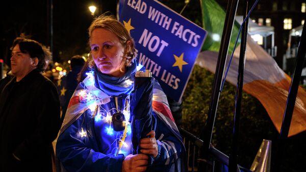 Участница акции против приостановки работы парламента в Лондоне. 9 сентября 2019