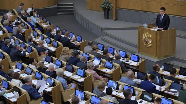 Министр науки и высшего образования РФ Михаил Котюков выступает на пленарном заседании Государственной Думы