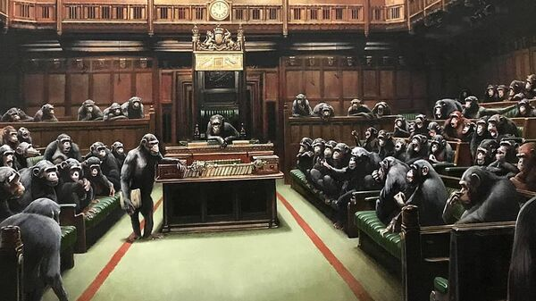 Картина британского стрит-арт художника Бэнкси Devolved Parliament