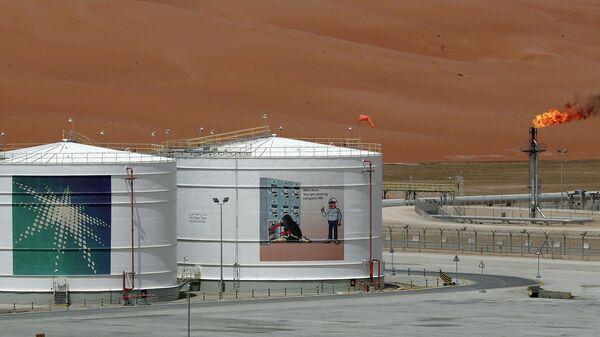 Производственный объект нефтяной компании Aramco на месторождении в Саудовской Аравии