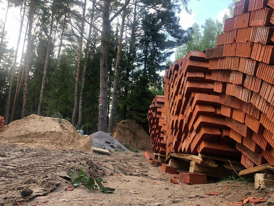 Кирпичи для строительства дома на территории заказника
